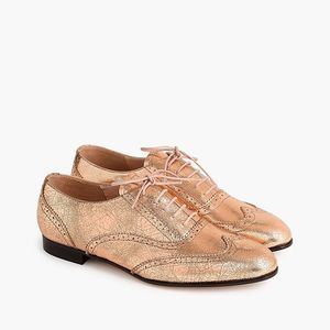 NWOT J Crew Leather Oxfords in Metallic Rose Gold